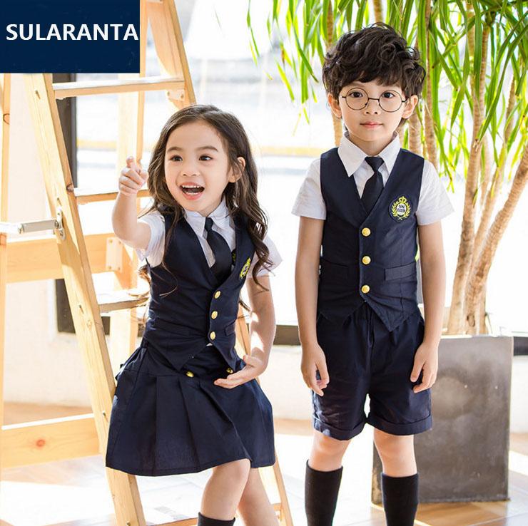 [해외]어린이 해군 파란색 면화 일본 학생 학교 교복 소녀 소년 정장 조끼 셔츠 스커트 반바지 넥타이 복장/Children Navy Blue Cotton Japanese Student School Uniforms Set Suit for Girls Boys Waistco