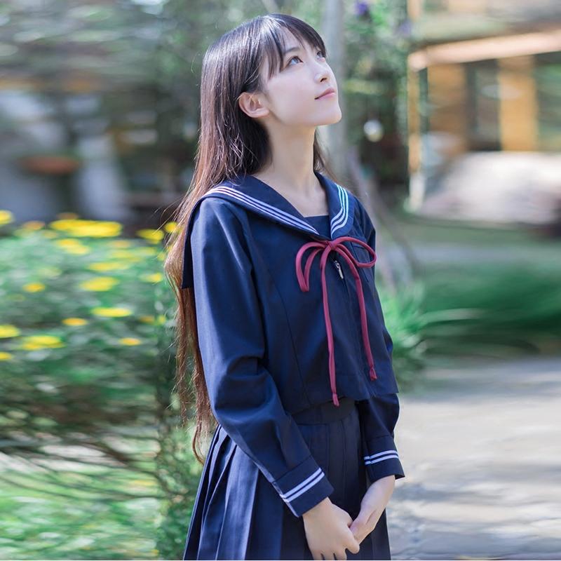 [해외]2017 가을 일본의 한국 학교 유니폼 소녀 귀여운 선원상의 스커트 전체 코스프레 코튼 jk 의상/2017 autumn japanese korean school uniforms girl cute sailor tops skirt full set cosplay co