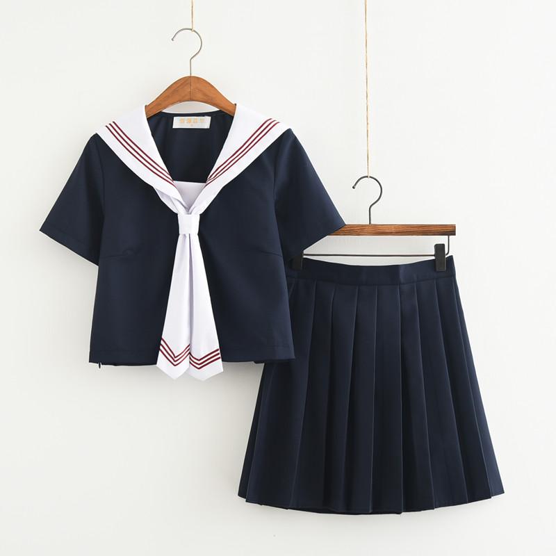 [해외]?일본 / 한국 학생복 귀여운 여자 / 여자 코스프레 선원복 학교 교복 복장 네이비 탑 + 스커트 + 넥타이/ Japanese/Korean Student Suit Cute Girls/Women Cosplay Sailor Suit School Uniforms Cl