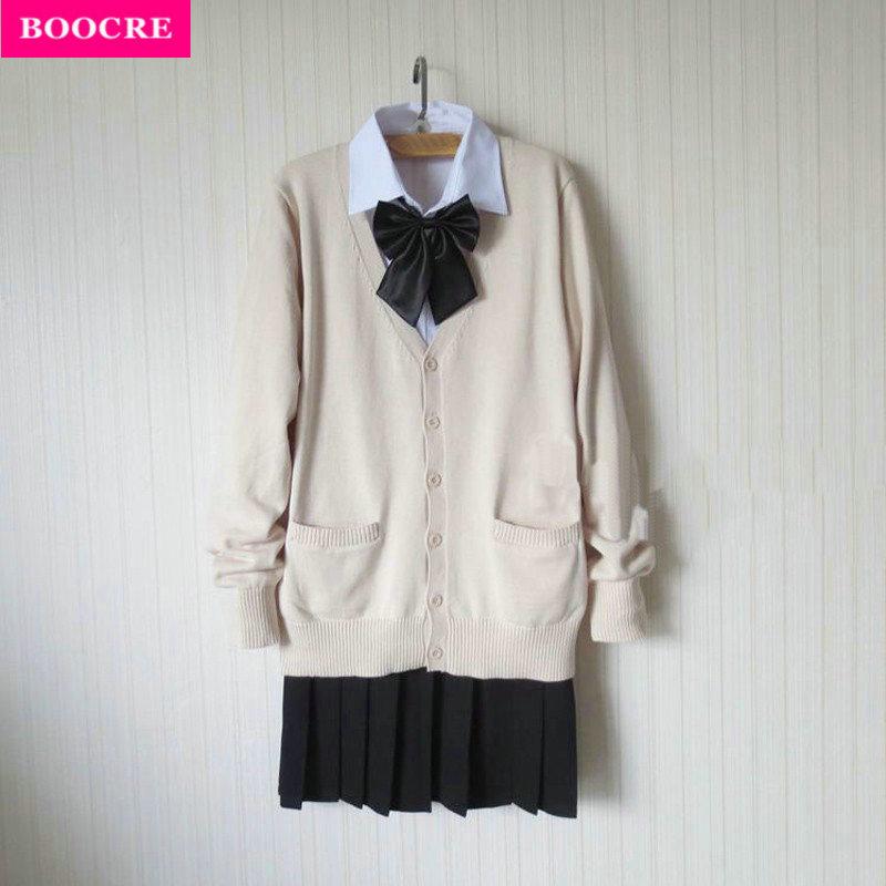 [해외]BOOCRE 일본 여성 JK 학생 스웨터 카디건 학교 유니폼 스커트 보우 세트 여성 학교 유니폼 전체 의상/BOOCRE Japanese Women JK Student Sweater Cardigan School Uniform Skirt Bow Set Women S