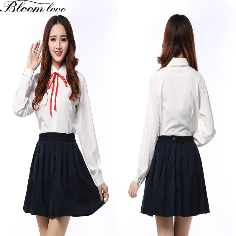 [해외]한국 스쿨 출연자 여성 일본 학교 유니폼 긴팔 화이트 셔츠 검은 색 치마 사무 비서복 유니폼/Korean School Performers Women Japanese School Uniforms Long Sleeved White Shirt Black Skirt O