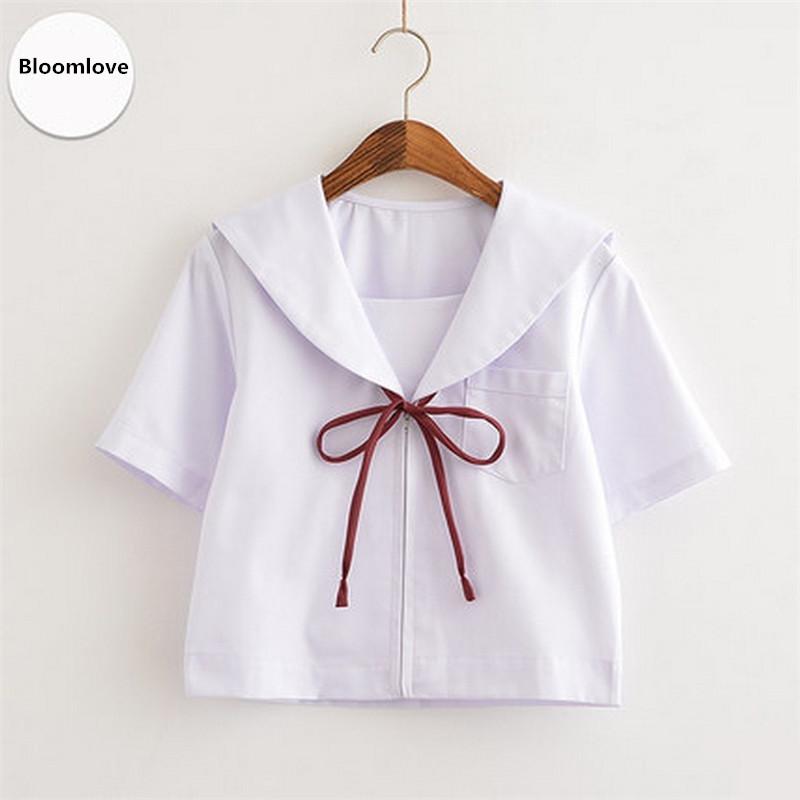 [해외]?한국 학교 유니폼 흰색 셔츠 반 슬리브 한국 학교 소녀 유니폼 OY-BWB01/ Korean School Uniform White Shirt Short Sleeve Korean School Girl Uniform OY-BWB01