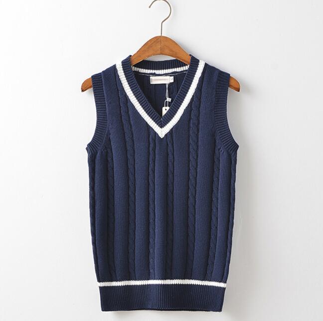 [해외]학교 유니폼 스웨터 봄 학교 조끼 - 여자 일본어 면화 유니폼 스웨터 여자/School uniform sweaters Spring School Vest-woman Japanese cotton uniform sweater Girls