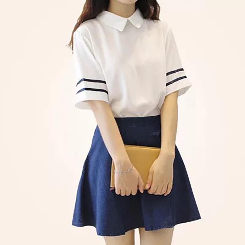 [해외]봄 가을 일본 JK 여학생 학생 제복 세트 화이트 짧은 치마 선원 정장 여성 S-XL /Spring Autumn Japanese JK School Girls Student Uniform Sets White Short Skirt Sailor Suits For Wo