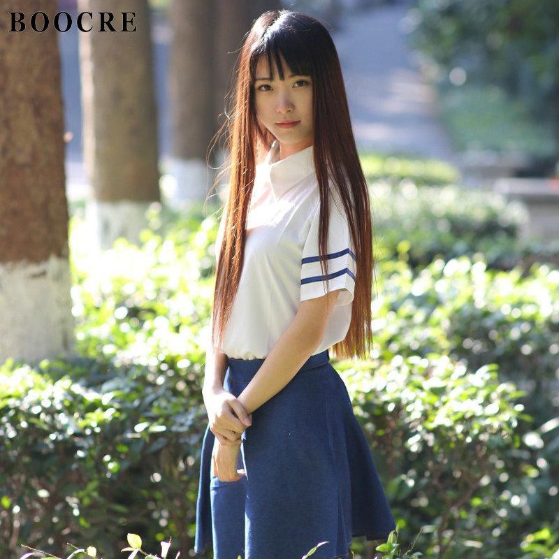 [해외]BOOCRE 일본 / 한국 영국 해군 코스프레 교복 귀여운 소녀 선원복 JK 학생 셔츠 + 치마 + 타이 의류/BOOCRE Japanese/Korean England Navy Cosplay School Uniforms Cute Girl Sailor Suit JK