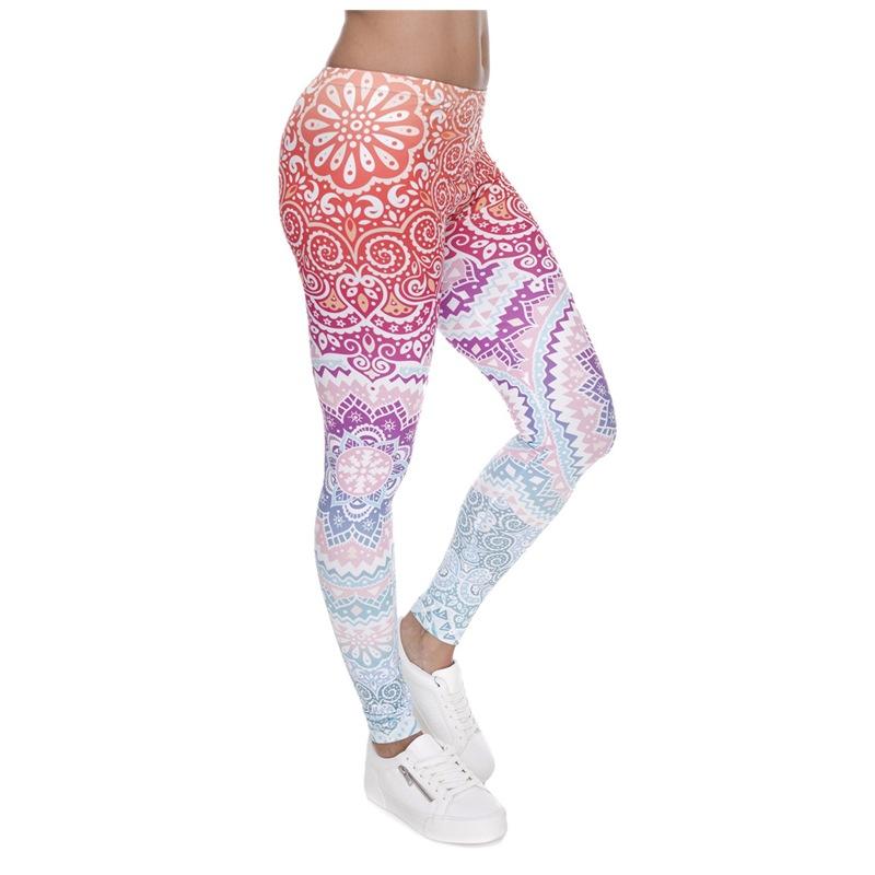 [해외]여성 패션 레깅스 아즈텍 라운드 옹 브르 프린팅 레깅스 슬림 하이 웨이스트 레깅스 여성 바지/Women Fashion Legging Aztec Round Ombre Printing leggins Slim High Waist Leggings Woman Pants