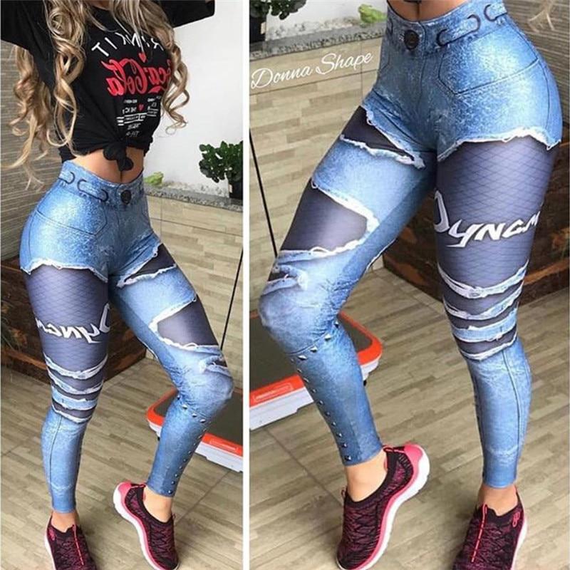 [해외]여성 3D 인쇄 가짜 데님 블루 메쉬 레깅스 탄성 운동 레깅스 바지 패션 2018 여성 레깅스/Women 3D Printed Fake Denim Blue Mesh Leggings Elastic Workout Legging Pants Fashion 2018 Fem
