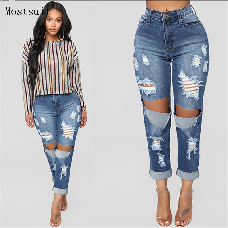 [해외]빅 홀 블루 여성 2018 청바지 립 새 남자 친구 스트레이트 데님 청바지 바지 캐주얼 스트리트웨어 청바지 펨므 무제/Big Hole Blue Ripped Jeans For Women 2018 New Boyfriend Straight Denim Jeans Pan