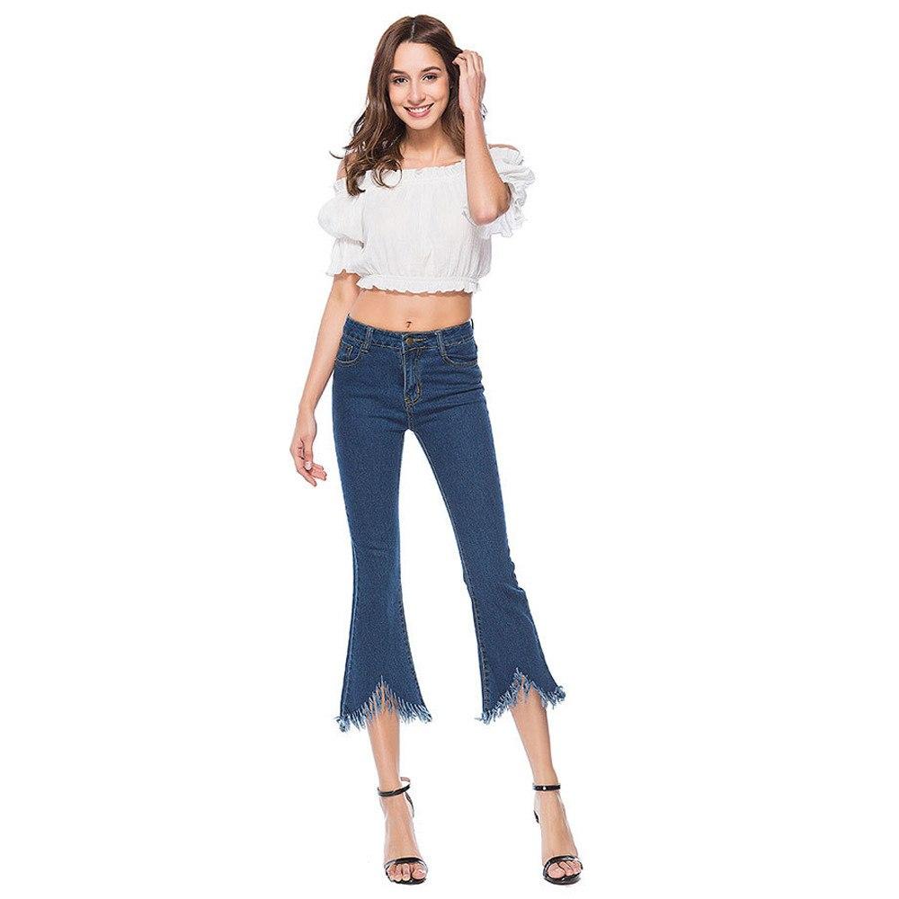 [해외]여성 스키니 벨 보톰 데님 청바지 스트레칭 슬림 바지 커프 길이 바지 패션 슬림 피트 바지 한국어 Elastic befreeF80/Women Skinny Bell-Bottoms Denim Jeans Stretch Slim Pants Calf Length Trou