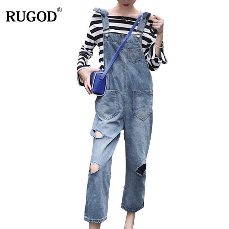 [해외]RUGOD 2018 가을 남자 친구 청바지 오버 올 여성용 빈티지 찢어진 홀 포켓 데님 바지 와일드 카우보이 청바지 Streetwear Befree/RUGOD 2018 Autumn Boyfriend Jeans Overalls Women Vintage Ripped