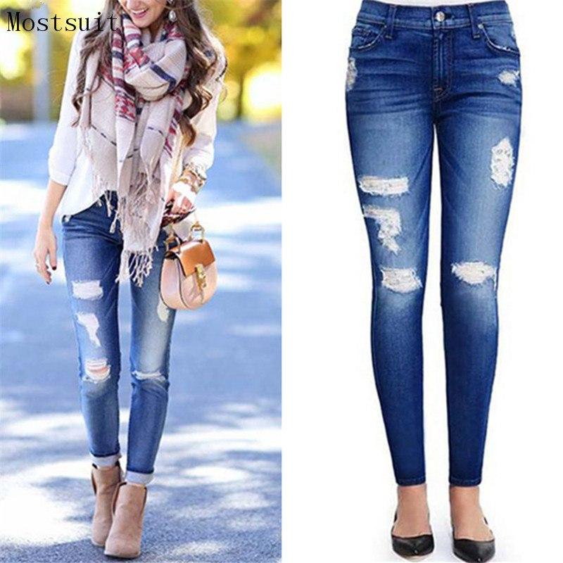 [해외]2018 여성을새 파란 청결한 청바지 캐주얼 스트리트웨어 스키니 팬 데님 청바지 바지 바지 지퍼 플라이 포켓 진 펨므/2018 New Blue Ripped Jeans For Women Casual Streetwear Skinny Pencil Denim Jeans