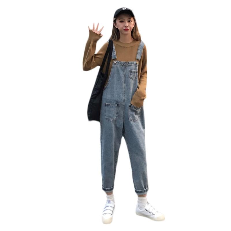 [해외]/Vintage Sleeveless Denim Jumpsuits Women Jeans Overalls Wide Leg Denim Overalls Women Loose Jeans Trouser Female Romper Jumpsuit