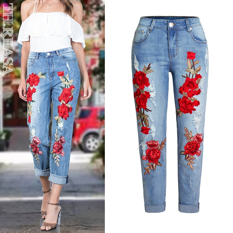 [해외]Embroidery Ripped Flowers Straight Jeans Women 3D Stereoscopic Cotton Elastic Loose Blue Washed Vintage Pattern Trousers Femme/Embroidery Ripped F