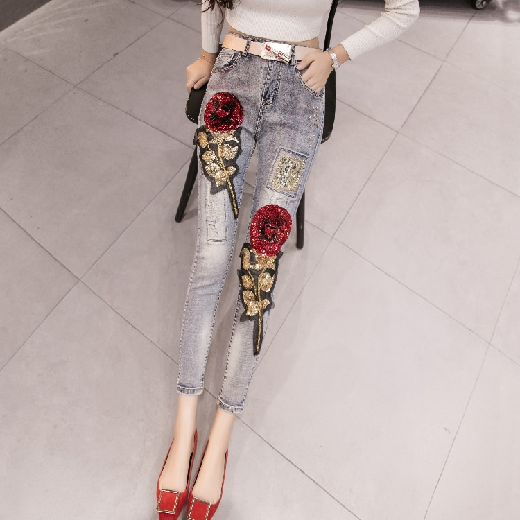[해외]LYFZOUS New Rose Sequins Embroidery Jeans Woman Fashion Beads Jeans Sexy Skinny Jeans Femme Spring Summer Denim Pencil Pants/LYFZOUS New Rose Sequ