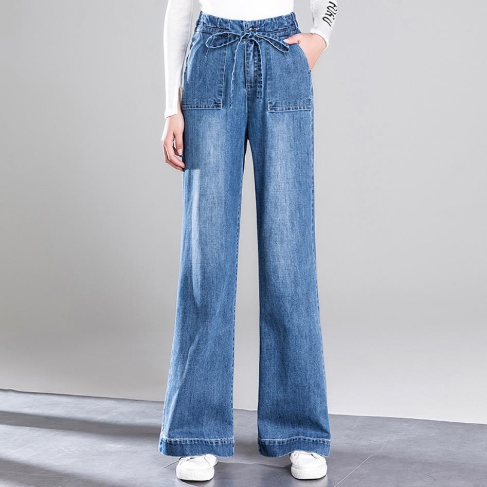 [해외]plus size 26-32Women Loose High Waist Wide Leg Jeans straight Flare Denim Jeans Retro Bell Bottom Stretch Pants Trousers/plus size 26-32Women Loos