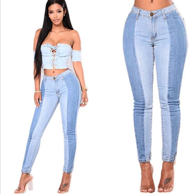 [해외]2018 Sexy Colorblock Jeans Skinny Fashion Straight Casual Women`s Jeans Large Sizes High Waist Jeans S-3XL/2018 Sexy Colorblock Jeans Skinny Fashi