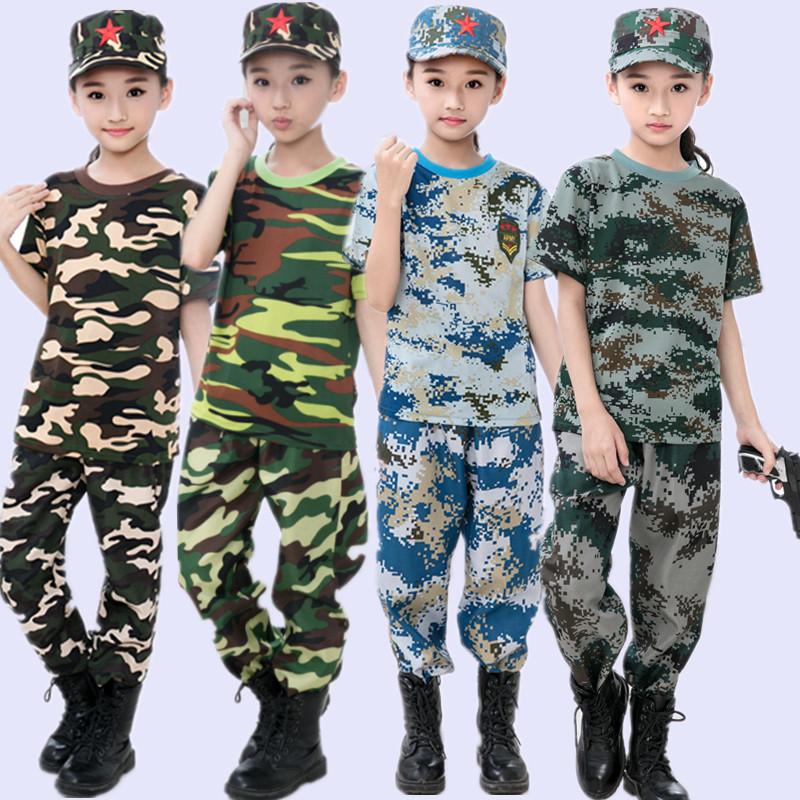 [해외]어린이 밀리터리 훈련 유니폼 위장 의류 세트 키즈 밀리터리 유니폼 어린이 육군 양복 성능 무대 의상/Children Military Training Uniforms Camouflage Clothing Set Kid Military Uniform Children&