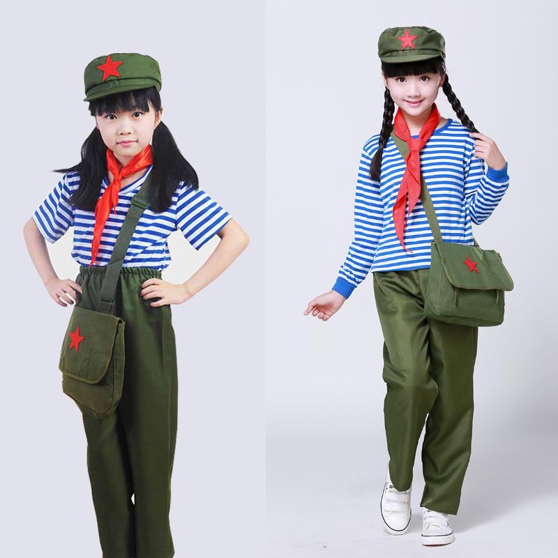 [해외]유니폼 무대 공연 (상위 + 바지 + 빨간색 스카프 + 모자 + 가방) 스카우트 어린이를군대 제복  붉은 군대 의상/Military Uniform Chinese Red Army Costume for Children Scouting Uniforms Stage Pe