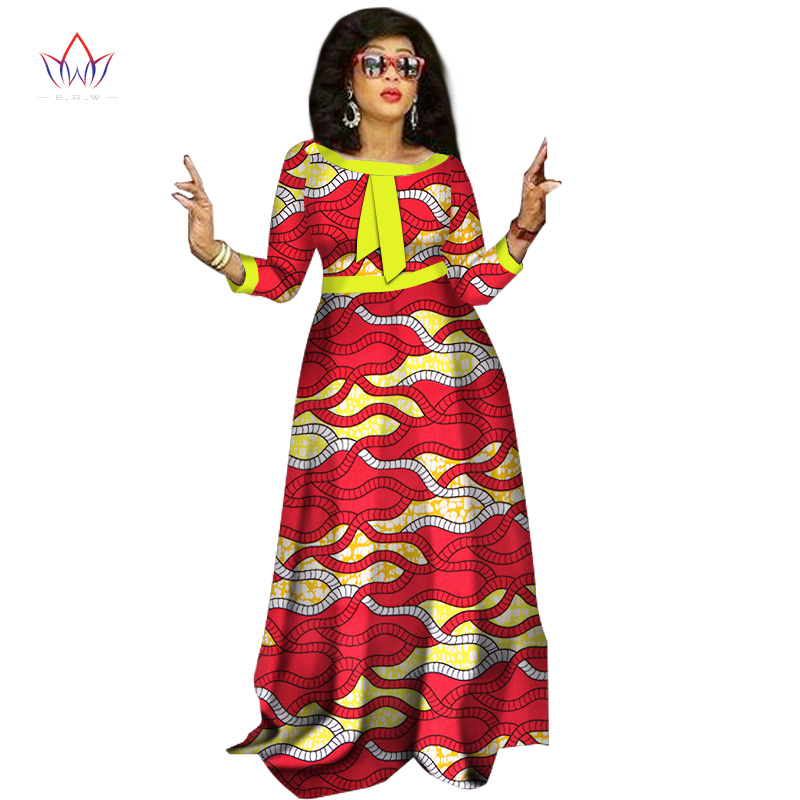 [해외]2017 여성을아프리카의 드레스 패션 디자인 대들보 여성 bazin riche o-neck 긴 드레스 대시 플러스 사이즈 천연 6xl WY1236/2017 african dresses for women Fashion Design dashiki women bazi
