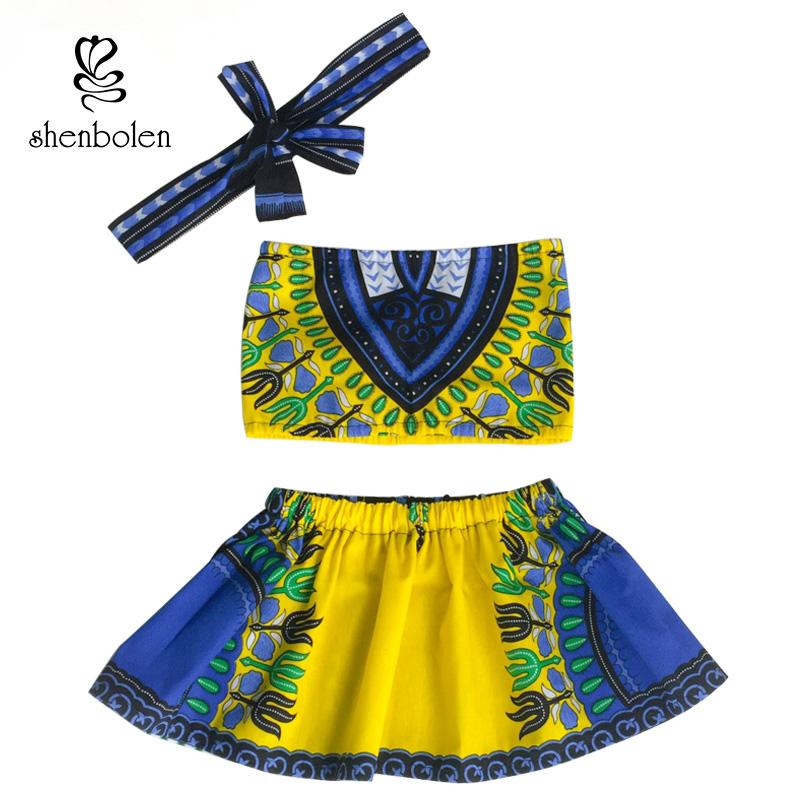 [해외]Shenbolen 2017 아프리카 어린이 의류 아기 소녀 대시키 전통 복장상의 + 치마 머리띠 세트 달콤한 아이 옷/Shenbolen 2017 African Children Clothing  Baby girl Dashiki Tradition outfit top
