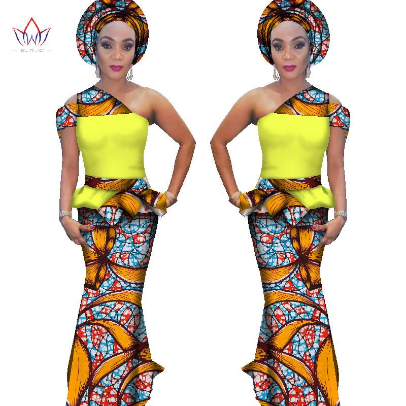 [해외]2017 BRW 앙카라 패션 여성을두 가지 세트 자르기 탑스 & amp; 치마 세트 플러스 크기 6XL 아프리카 인쇄 전통적인 의류 WY1561/2017 BRW Ankara Fashions Two Pieces Set for Women Crop Tops &