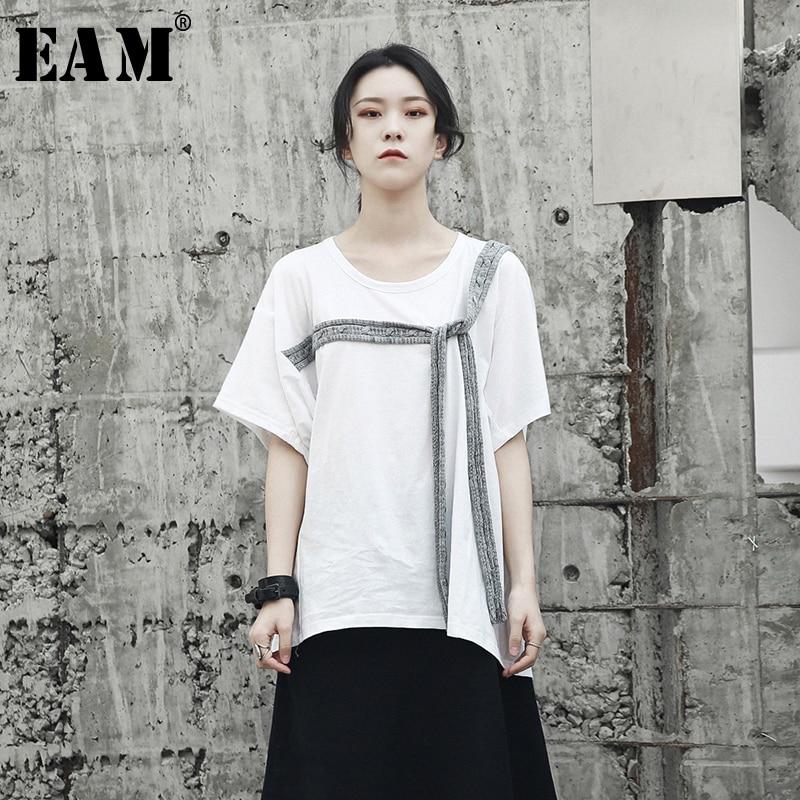 [해외][EAM] 2018 새로운 가을 겨울 O- 칼라 짧은 Retail 흰색 어깨 붕대 레저 느슨한 성격 티셔츠 여성 패션 JF813/[EAM] 2018 New Autumn winter O-collar Short Sleeve White Shoulder Bandage