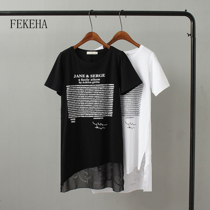 [해외]/FEKEHA Summer Long T shirt Women Letter Black White T-shirt Sexy Short Sleeve Thin Women Cotton Tops Tees Female Tshirt