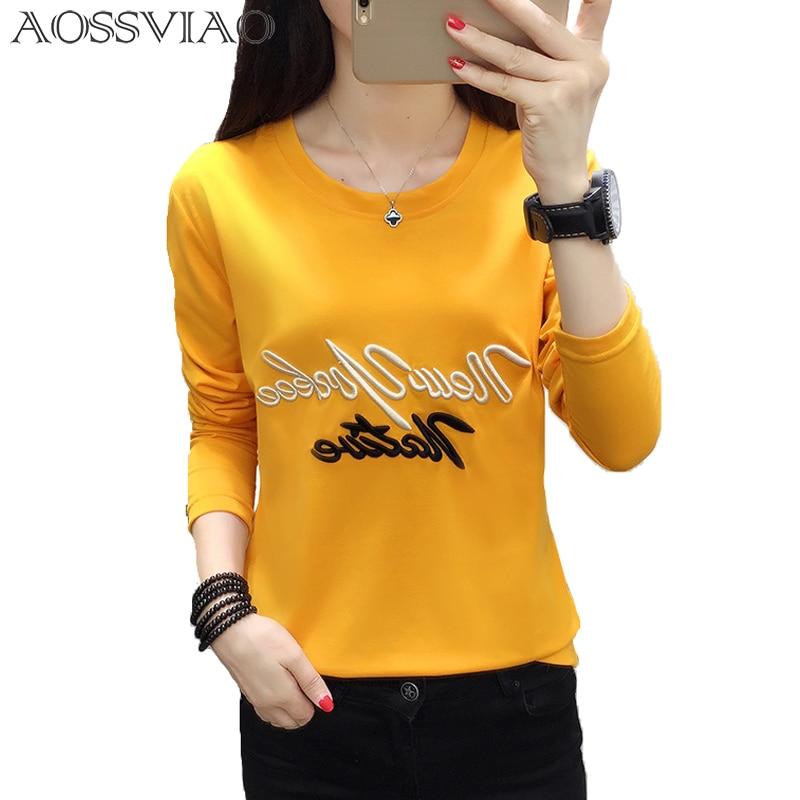 [해외]/Cartoon Embroidery Autumn T-shirt Women New Fashion Simple Long Sleeve Tops Lovely Black White Loose Female T-shirt Plus Size
