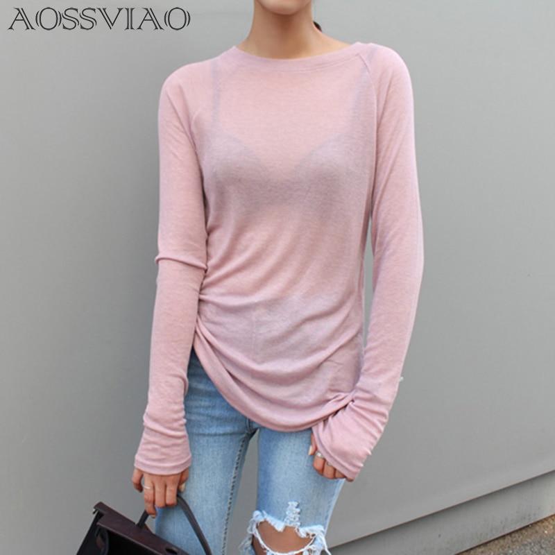 [해외]Sexy Women Long Sleeve T-shirt O-neck Slim Fit Warm 2019 Spring Summer Basic T-shirts Korean Women Tops Black White Blue Pink/Sexy Women Long Slee