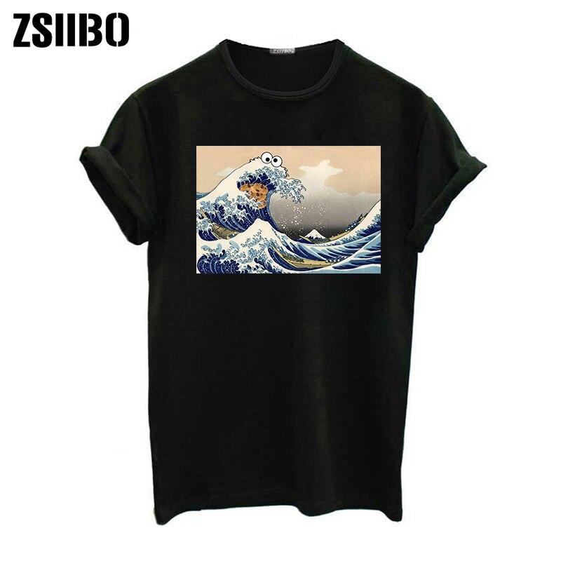 [해외] wave Japanese print fun short-sleeved T-shirt Summer female fashion Harajuku tops tees new wave O-Neck T-shirt drop shipping/ wave Japanese print