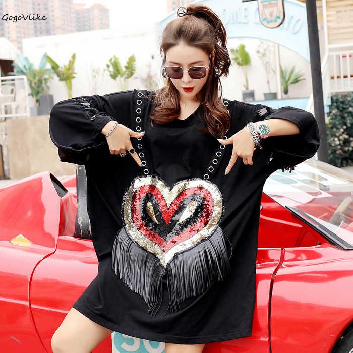 [해외]Sequins Heart Shirt Tassel 2019 woman Cartoon Print Top Tees tee Hip Hop clothes Long sleeve Plus Size Rock Shirts LT280S50/Sequins Heart Shirt Ta