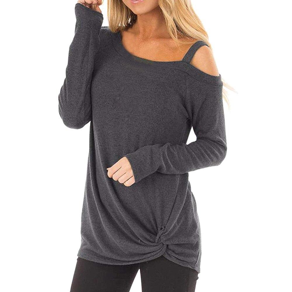 여름 t 셔츠 여성 새 도착 캐주얼 부드러운 여성 셔츠 긴 소매 o 넥 매듭 사이드 트위스트 탑 티셔츠