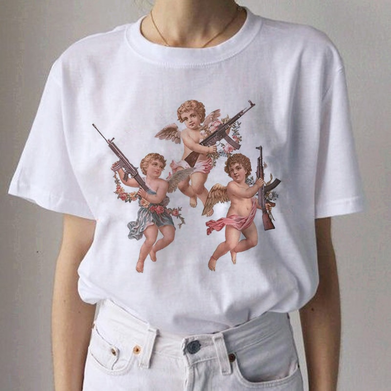 새로운 천사 미적 그런지 하라주쿠 티셔츠 여성 천사 카와이 재미있는 만화 티셔츠 90s 패션 tshirt ullzang 가기 티셔츠 여성