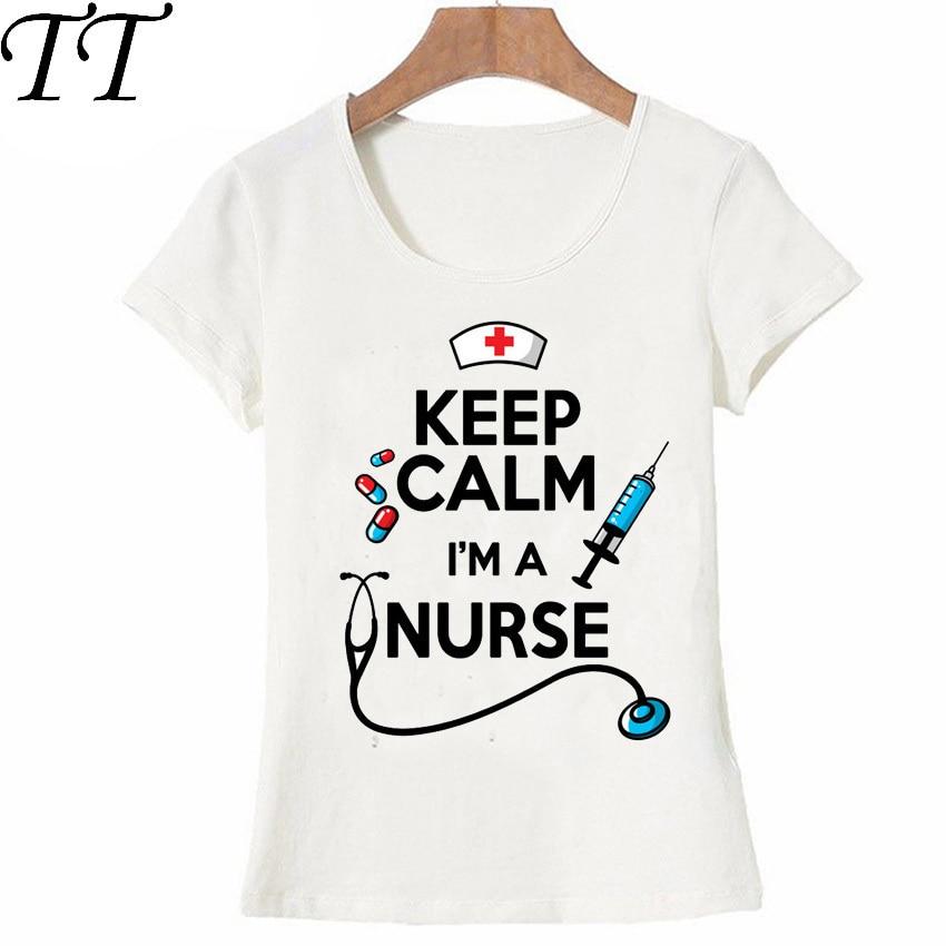 [해외]Keep Calm Nurse T-Shirt Summer women t-shirt funny design Nurse Tops novelty ladies casual Tees cute girl t shirt/Keep Calm Nurse T-Shir