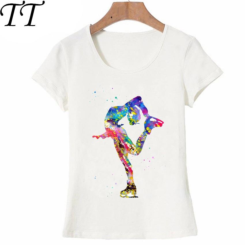 [해외]Harajuku Figure Skating Girl watercolor art T-Shirt Summer women t-shirt maiden cute casual Tees colorful Dancer female Tops/Harajuku Fi