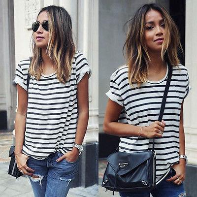<span style=''>[해외]새로운 패션 여성 숙녀 캐주얼 짧은 소매 느슨한 여름 스트라이프 티셔츠 탑스 XL</span>