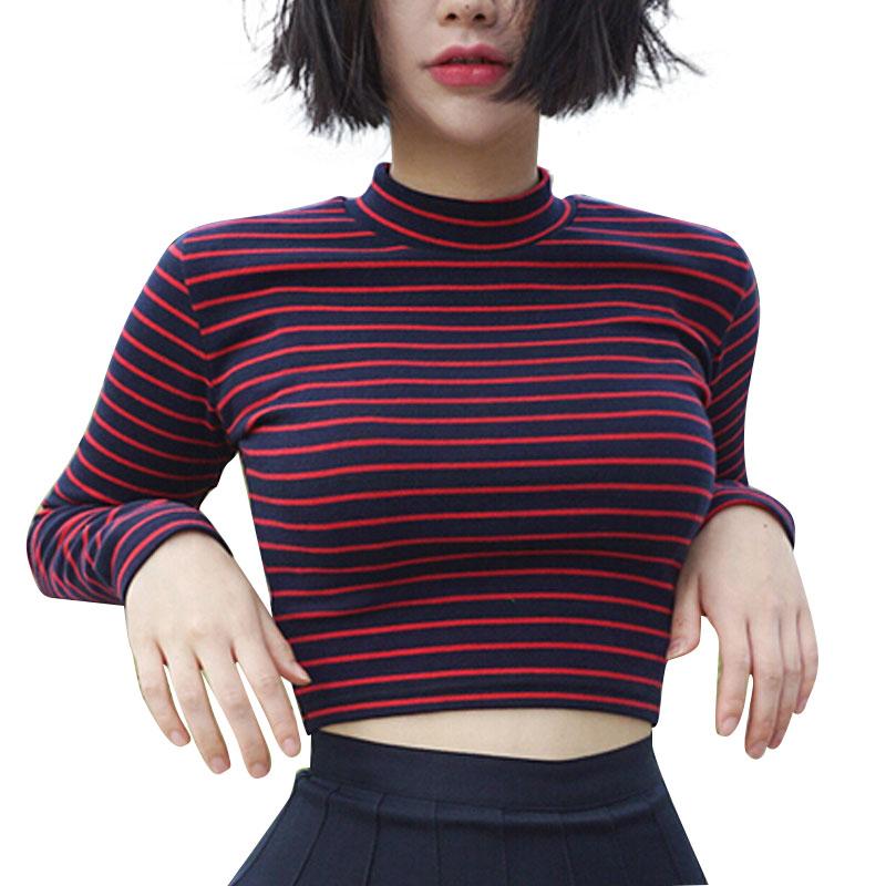 자르기 탑 여성 2017 chic all-match 클래식 스트라이프 슬림 짧은 bustier 자르기 탑 터틀넥 긴팔 티셔츠 섹시한 셔츠 티