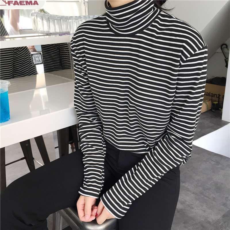 패션 블랙 화이트 스트라이프 여성 긴 소매 티셔츠 터틀넥 여성 티셔츠 여름 우아한 느슨한 캐주얼 티즈 대형