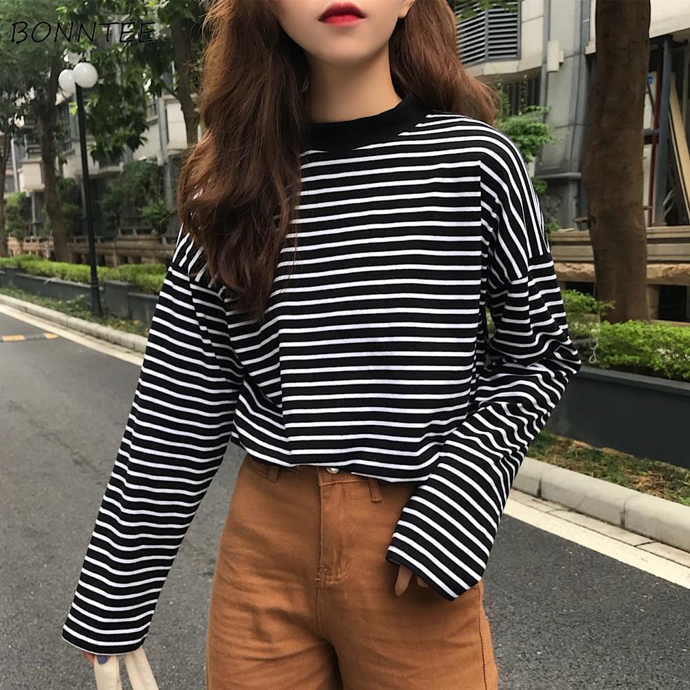 [해외]T-shirts Women Retro Striped Long Sleeve Tops Leisure Simple Students All-match T Shirt Soft Warm Korean Womens Autumn Fashion/T-shirts