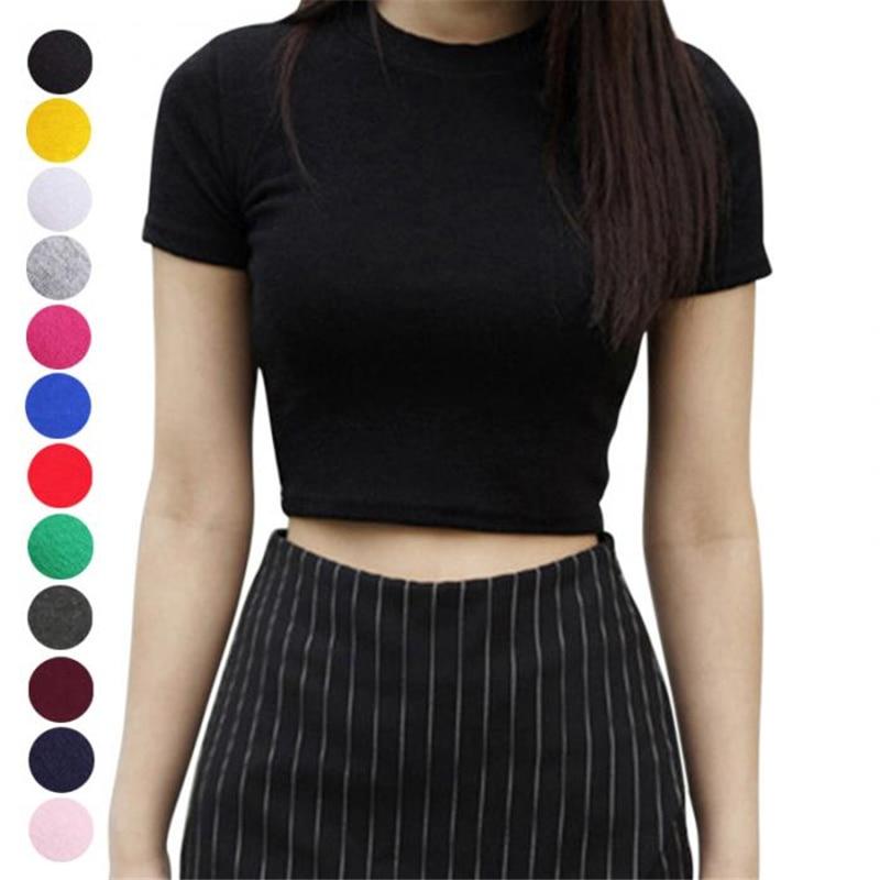 여성 여름 티셔츠 반팔 라운드 넥 슬림 피트 캐주얼 풀오버 자르기 탑스 NYZ Shop