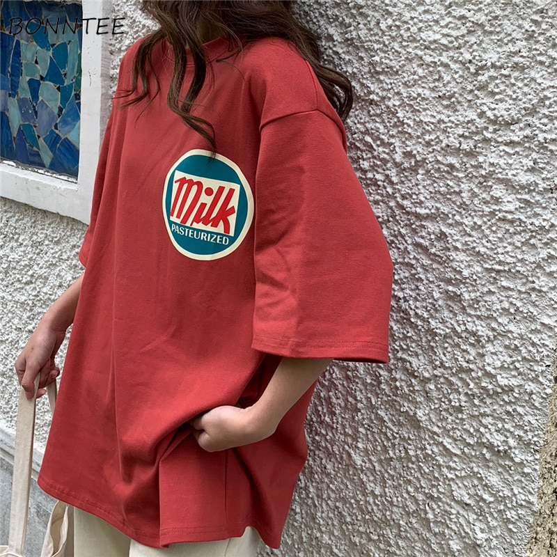 티셔츠 여성 하라주쿠 밀크 프린트 카와이 BF 커플 복장 유니섹스 루즈 롱 써머 티 탑 여성 티셔츠 한국 스타일 트렌디