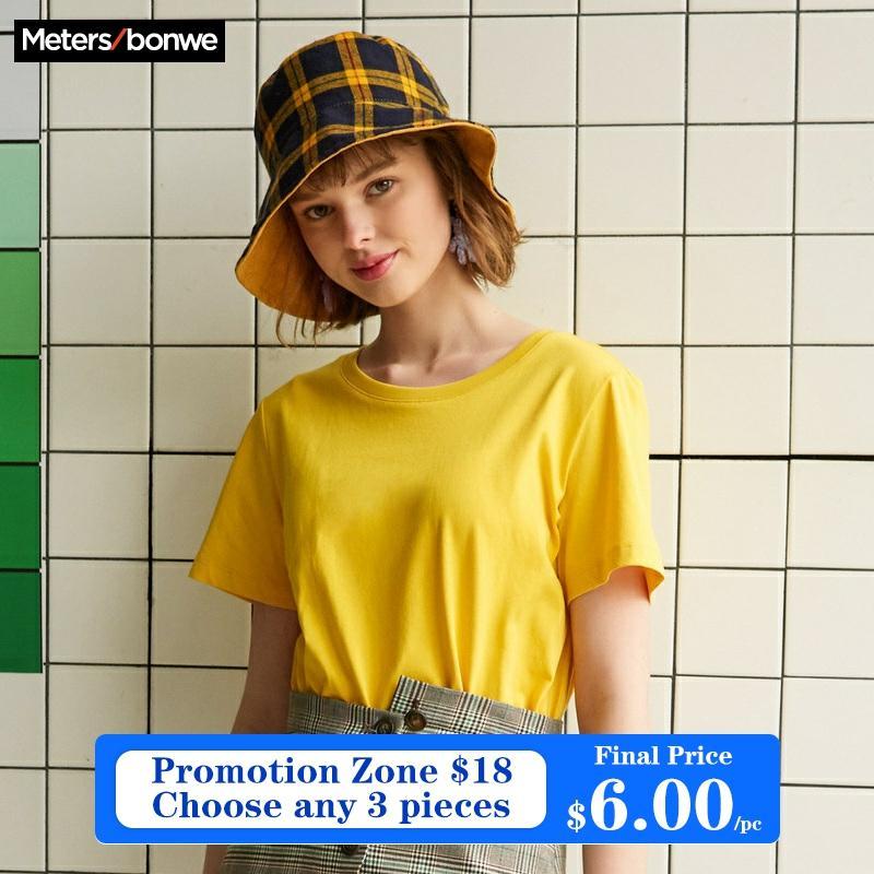[해외]Metersbonwe New Cotton Harajuku Aesthetics Tshirt  Solid Color Short Sleeve Tops & Tees Fashion Casual Couple T Shirt/Metersbonwe New Co