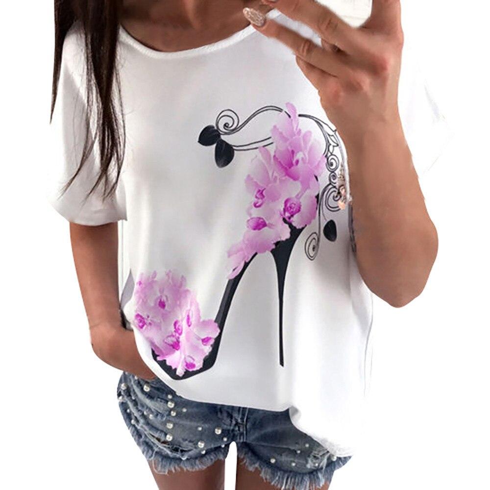 여성 티 셔츠 Femme 플러스 사이즈 패션 반팔 하이힐 프린트 탑 캐주얼 루스 티셔츠 Camisa Femenina # YY