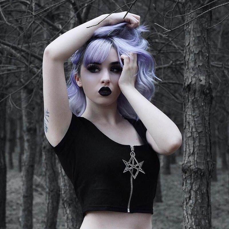[해외]Summer Women Black Crop Tops Star Zipper Short Sleeve Gothic Tops Solid Basic Lady Short Tshirts Casual Bodycon Female Tops/Summer Women