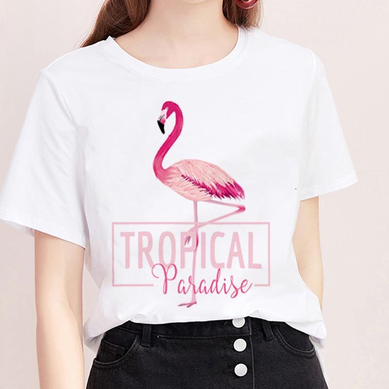 <span style=''>[해외]여름 T 셔츠 여성 하라주쿠 인쇄 플라밍고 캐주얼 패션 Tshirt o 넥 화이트 ..</span>