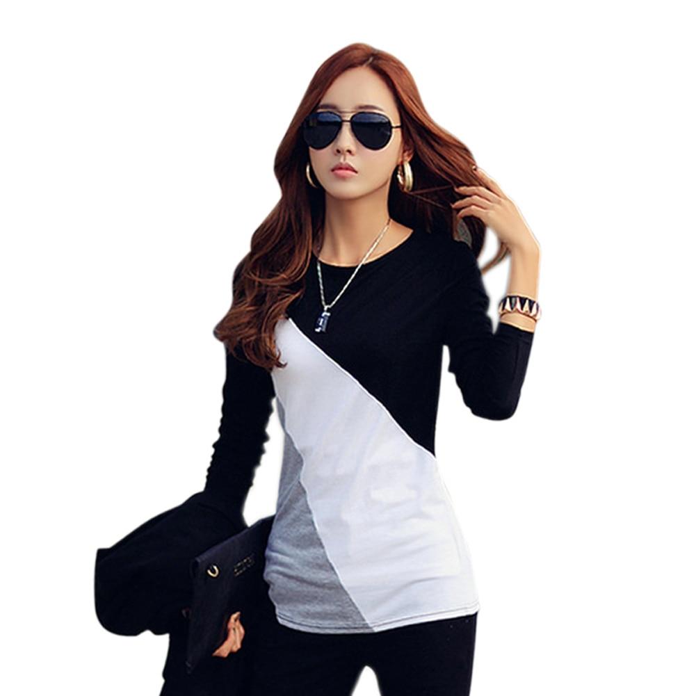 [해외]Newly Women Autumn T-shirts Long Sleeves Slim Fit Round Neck Mixed Color Female Tops DO99/Newly Women Autumn T-shirts Long Sleeves Slim