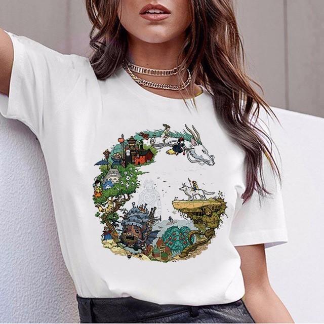 재미 있은 토토로 T 셔츠 여성 톱 티 셔츠 치히로 떨어져 T 셔츠 스튜디오 지브리 Tshirt 일본 애니메이션 그래픽 하라주쿠 여성