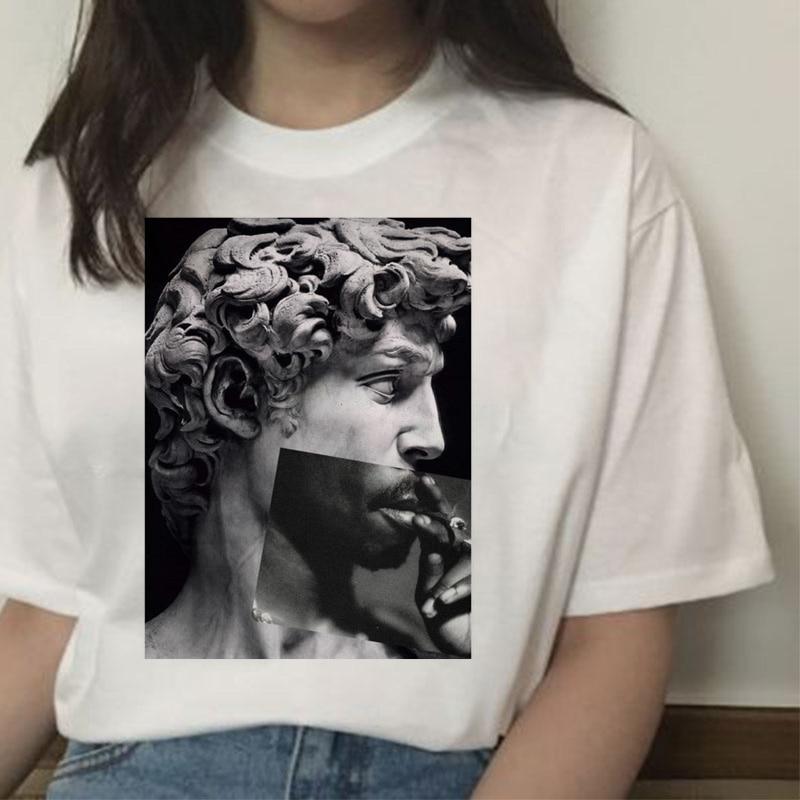 [해외]michelangelo david ulzzang harajuku t-shirt tshirt women print t shirt summer aesthetic femaale graphic hands 90s top clothes/michelange