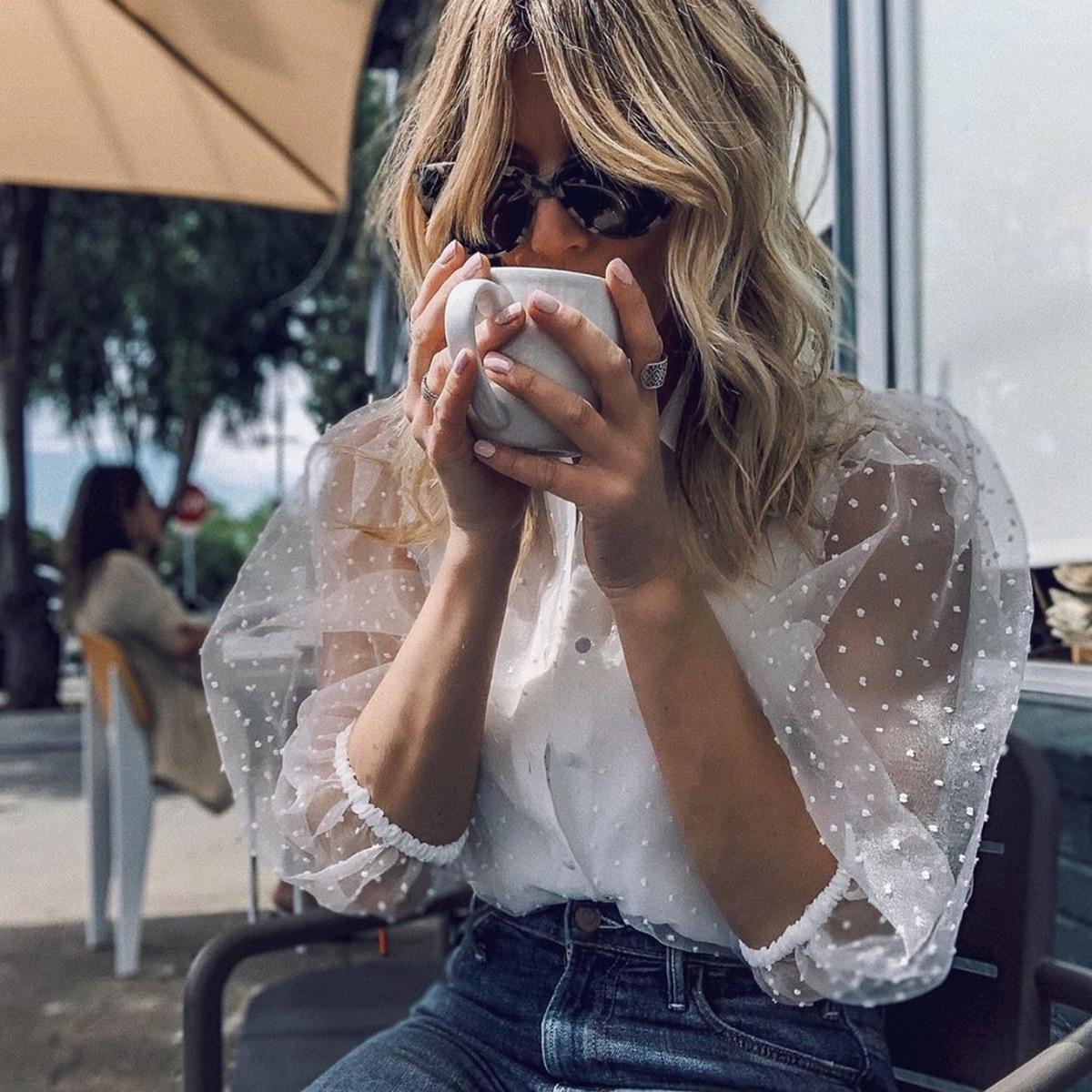 새로운 패션 여성 메쉬 쉬어 티셔츠 시스루 롱 슬리브 탑 셔츠 펄 버튼 투명한 흰색 티셔츠 여성 블러셔