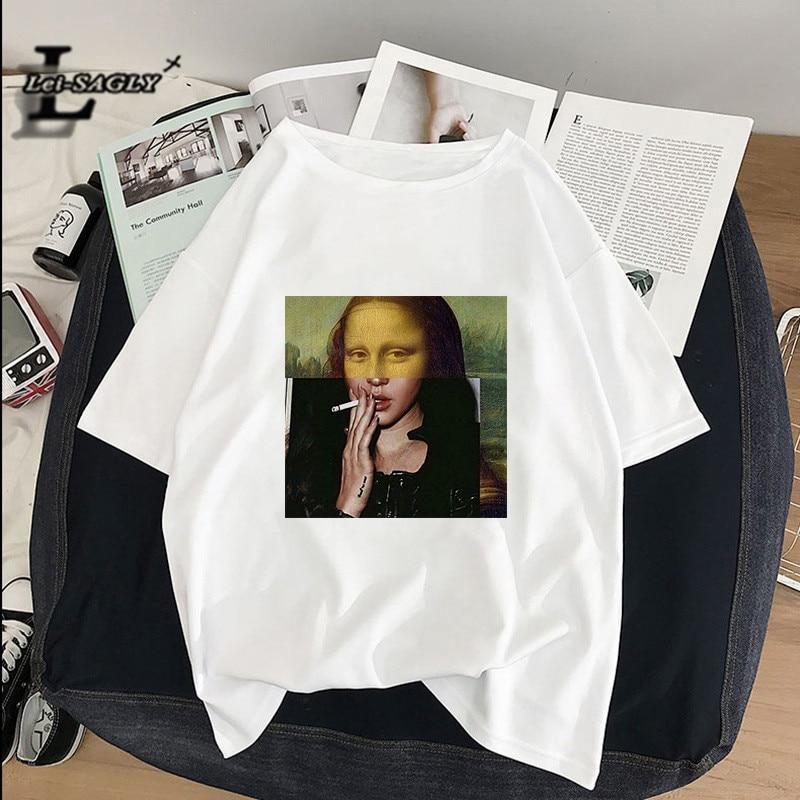 [해외]Lei SAGLY Mona Lisa smokes Women T-shirts artistic oil painting  Harajuku aesthetic ulzzang oversized t shirt korean clothes/Lei SAGLY M